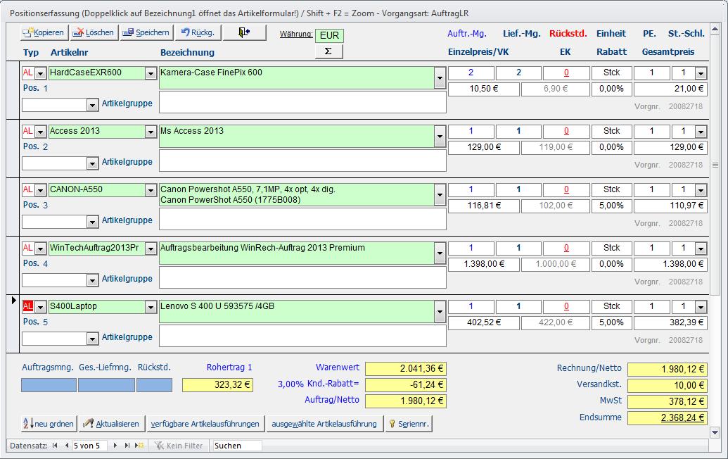 Leistungsmerkmale Wintech Edv Online
