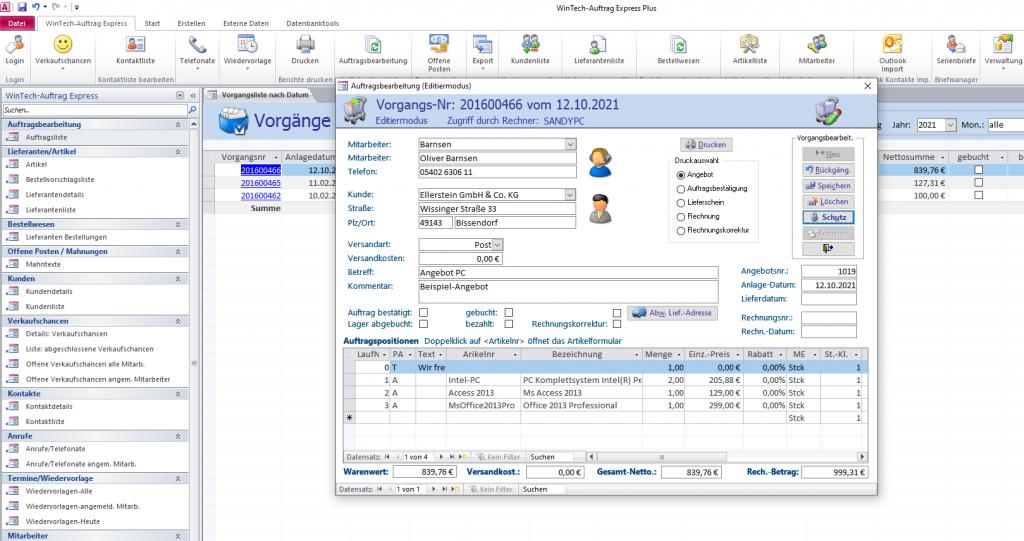 Wintech-Auftrag Express Plus